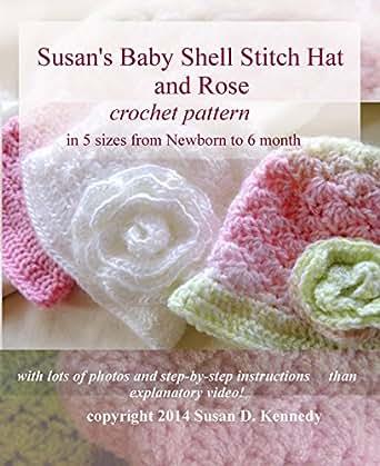 Amazon Susans Shell Stitch Baby Hat Crochet Pattern And Rose