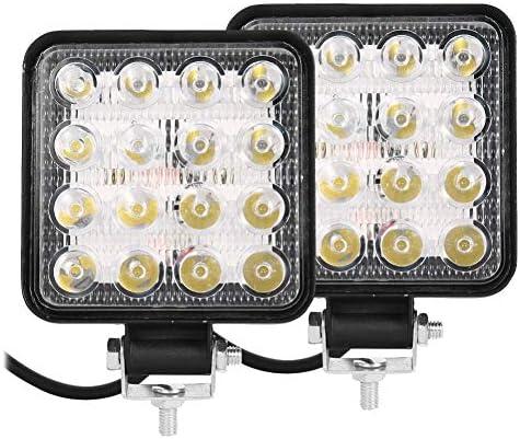2 Piezas Faro Trabajo LED Focos de Coche Faros Delanteros de 48W Square 16 LED 12V 24V para Camión Tractor SUV Barco