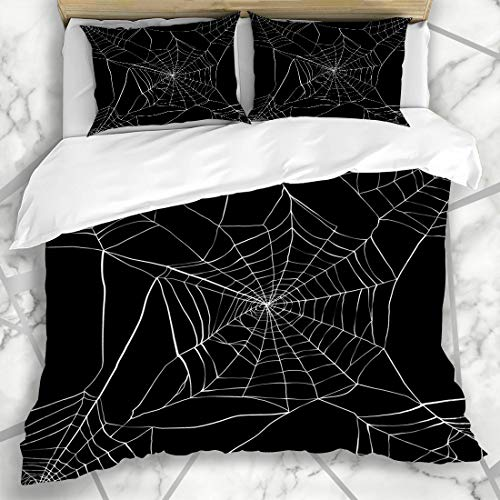 Ahawoso Duvet Cover Sets Queen/Full 90x90 Scary White Pattern Spider Made Clipping Spiderweb Black Nature Net Gothic Arachnid Clip Design Microfiber Bedding with 2 Pillow Shams