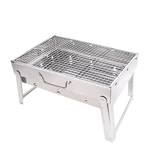Sushar Portable Charcoal BBQ Grill Outdoor Picnic thickened Qualified 430 Stainless Steel Charcoal Grill/Expanded 11.4x16.9x9.4 inch by Sushar