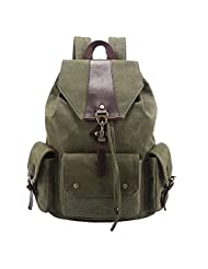 Qiaoshubao Women's Korean Style of Large-capacity Bag Fashion Splice Cowhide Canvas Backpack Shoulder Rucksack (Camouflage)