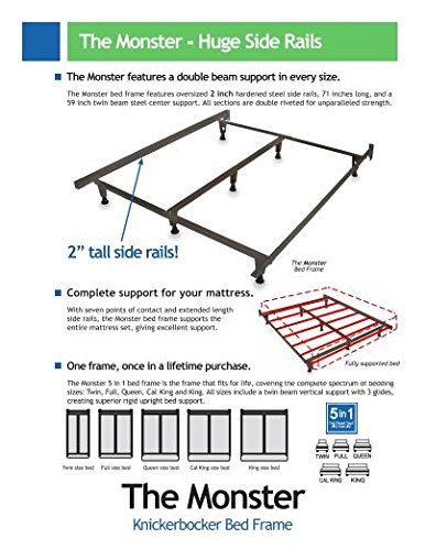 Model KB2007G - Heavy Duty Metal Bed Frame w/Glides ONLY - Knickerbocker ''Monster'' Version without Wheels - 5-in-1: Twin,Full, Queen,King,California King by Heavy Duty Bed Frames (Image #1)