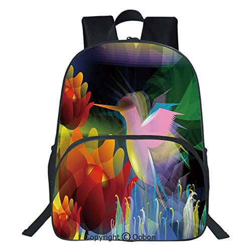 (Oobon Kids Toddler School Waterproof 3D Cartoon Backpack, Fantasy Digital Paint with A Bird Swallows Honey from Flower Stock Fractal Artwork Decorative, Fits 14 Inch Laptop)