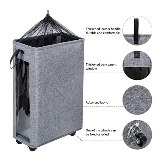 """ZERO JET LAG 27 inches Slim Laundry Hamper Large Tall Laundry Basket on Wheels Clear Window Visible Dirty Clothes Hamper… - 【HEIGHTEN & WIDEN SIZE】 The updated laundry basket allows you to pack more clothes than before,at least 3 to 4 more clothes.so you don't have to go to the laundry room often.Refer size:16""""×8.6""""×27"""" Capacity:62L / 13.6gal 【CLEAR & SIMPLY 】With a transparent window, you do not need to go through of piles before you find what you are looking for. Save time, just peep through the """"window"""" and see if to open. 【PU HANDLE & WHEEL DESIGN】Comfortable PU handle allow you to easily move a dirty laundry basket.The wheels under the hamper make it easy to transport. - laundry-room, hampers-baskets, entryway-laundry-room - 51fhXITMR0L. SS570  -"""