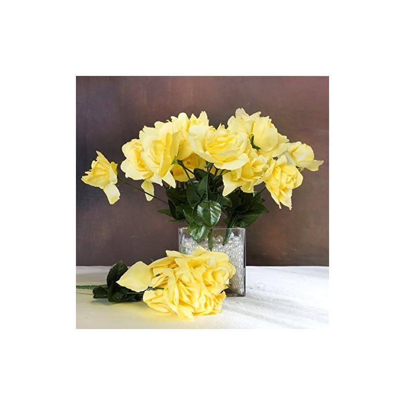 silk flower arrangements balsacircle 84 yellow silk open roses - 12 bushes - artificial flowers wedding party centerpieces arrangements bouquets supplies