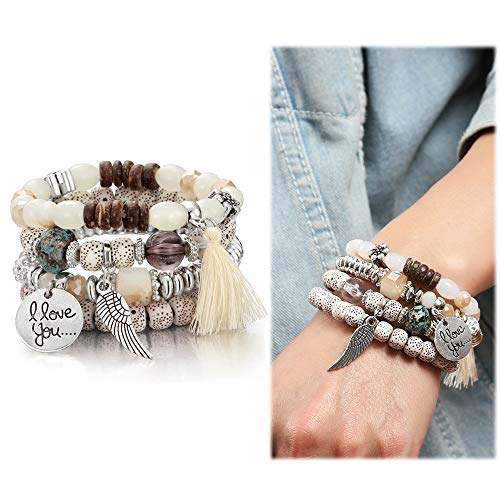 SEVENSTONE Bohemian Stretch Multilayer Stackable for Women Girls Crystal Beaded Strand Bangle Charm Stretch Bracelet Beach Boho Jewelry