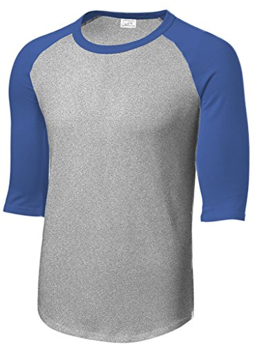 Jersey Baseball Stock (Joe's USA Mens 3/4 Sleeve 100% Cotton Baseball Tee Shirt,L HeathGrey/Royal)