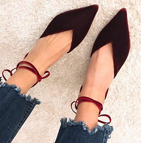 Zapatos con Cordones Y Tacones Altos de Terciopelo con Punta de Zapatos de Mujer Mi
