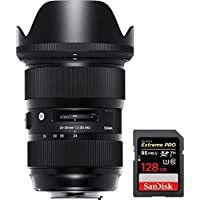 Sigma 24-35mm F2 DG HSM Standard-Zoom Lens for Nikon Cameras (588955) + Sandisk Extreme PRO SDXC 128GB UHS-1 Memory Card