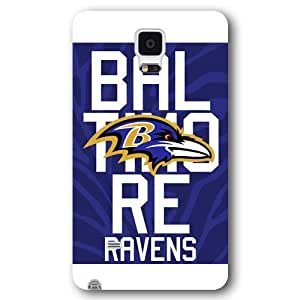 UniqueBox Customized NFL Series Case for Samsung Galaxy Note 4, NFL Team Baltimore Ravens Logo Samsung Galaxy Note 4 Case, Only Fit for Samsung Galaxy Note 4 (White Frosted Shell)