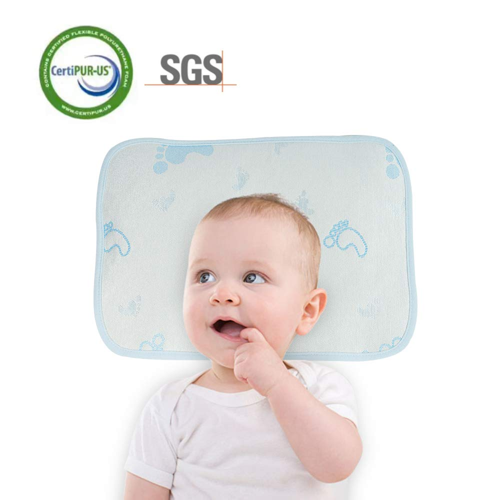 Baby Pillow Newborn Prevent Flat Head Cooling Pillow Baby in Summer, Baby Pillow Memory Foam Breathable Wood Pulp Fiber Baby Protective Pillow 0-8 Month(Blue)