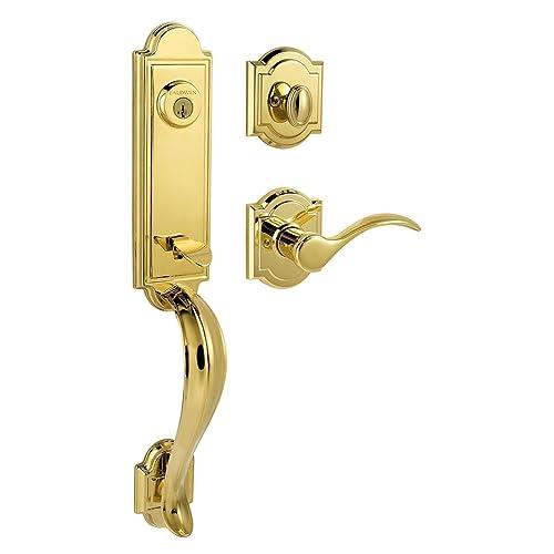 Baldwin Prestige Avendale Single Cylinder Handleset With Tobin Lever  Featuring SmartKey In Lifetime Polished Brass