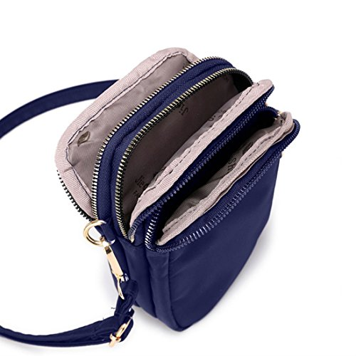 Bag Nylon Crossbody Cell Blue Wallet Women Smartphone Purse Shoulder Phone Holder Waterproof For Small nwqnxCa0Sg