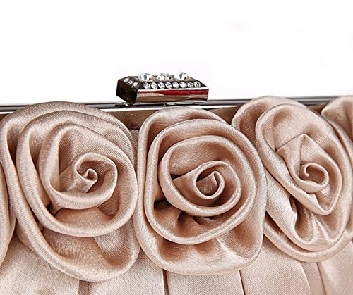 TDPAC Cream Satin Elegant Roses Cream Evening Handbags E Ladies B0wtdd