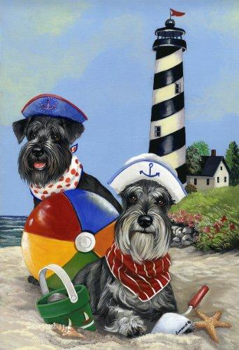 Schnauzer Garden Flag - Schnauzer Beach Buddies-GF