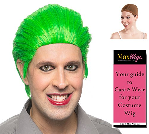Joker Squad Color Kelly Green - Enigma Wigs Mens Homicidal Suicidal Comic Villain Bundle w/Wig Cap, MaxWigs Costume Wig Care Guide ()