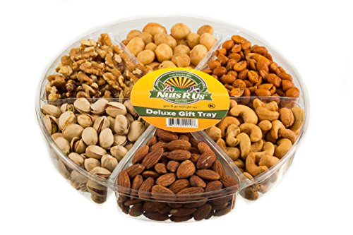 Gourmet Freshly Roasted 6 Section Medium Nut Tray Holiday Anniversary Birthday Nut Gift Basket Party Decorative Nut Platter