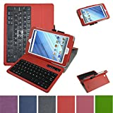 "Acer Iconia One 8 B1-850 Bluetooth Keyboard Case,Mama Mouth Coustom Design Slim Stand PU Leather Cover With Romovable Bluetooth Keyboard For 8"" Acer Iconia One 8 B1-850 Android Tablet,Red"