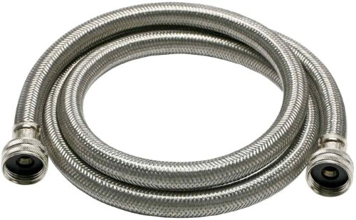 """Fluidmaster B9WM72HE High Efficiency Washing Machine Connector, Braided Stainless Steel - 3/4"""" Hose Fitting x 3/4"""" Hose Fitting, 6 Ft. (72"""") Length"""
