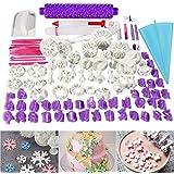 Juego de 96 piezas de herramientas para decoración de tartas de fondant, cortadores de molde de foviza, rodillo de hornear, t