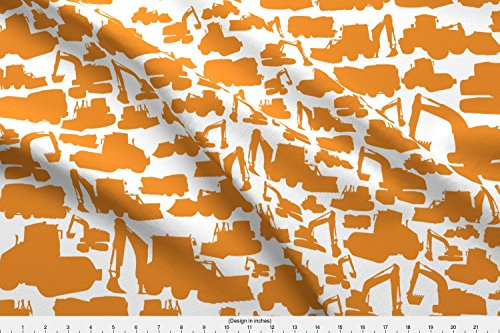 Trucks Fabric Boys Toys Orange White by Smuk Printed on Eco Canvas Fabric by the Yard by Spoonflower (Eco Truck Excavator)