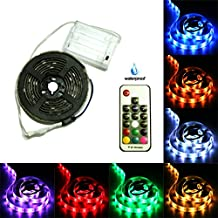 3.28ft Battery Powered Strip Lights, Waterproof, DIY Indoor and Outdoor Decoration, 17-Keys Remote Controlled