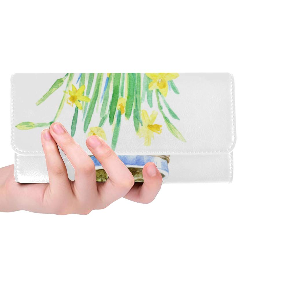 Unique Custom Potted Watercolor Painting Plant Art Green Leaf Flower Women Trifold Wallet Long Purse Credit Card Holder Case Handbag by DKGFNK