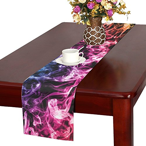 QYUESHANG Smoke Colors Soul Black Blue Fantasy Table Runner, Kitchen Dining Table Runner 16 X 72 Inch For Dinner Parties, Events, Decor ()