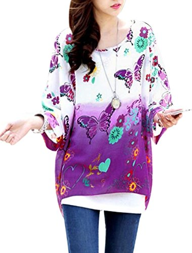uxcell Lady Floral Butterfly Print Bat Sleeve Chiffon Blouse Purple White S