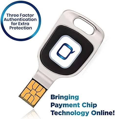 Qkey Password Vault - Three Factor Authentication Security Key for Extra Protection - Secures Internet Payment Transactions - Compatible with Windows 8.1 + and USB (Type A)