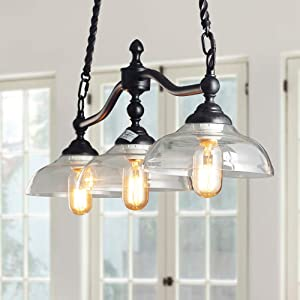 """Log Barn 3 Lights Island Hanging Lighting for Kitchen Island in Rusty Black Metal Finish with Clear Glass Shades, 38.1"""" Large Chandelier Pendant Light, A03297"""