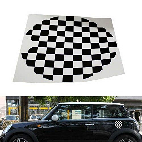 iJDMTOY Black/White Checkered Checkerboard Pattern Vinyl Sticker for Mini Cooper Gas Cap Cover