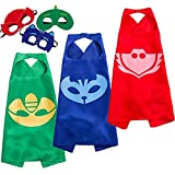 NuGeriAZ Halloween Costumes for Kids - Catboy Owlette Gekko Capes and Mask Superhero Capes for Kids (3Pcs)