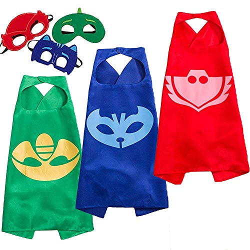 NuGeriAZ Halloween Costumes for Kids - Catboy Owlette Gekko Capes and Mask Superhero Capes for Kids (3Pcs) -