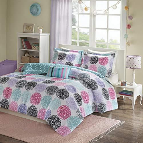 Kaputar Modern Fun Cute Pink Blue Teal Purple Grey Aqua Polka DOT Girls Comforter Set | Model CMFRTRSTS - 2896 | Twin Extra Long