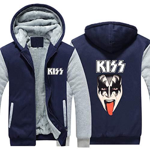 Slipknot Hoodie Kiss Rock Band Hooded Zip Up Fleece Thick Jacket Sweatshirt -