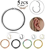 LOLIAS 5 Pcs 16g Stainless Steel Cartilage Hoop Earrings for Men Women Nose Hoop Ring Helix Septum Couch Daith Lip Tragus Piercing Jewelry 10MM