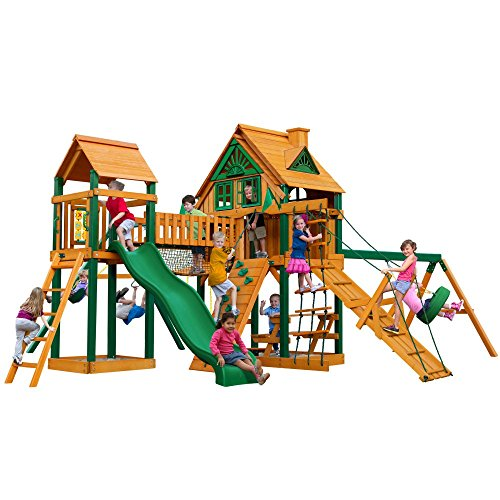 Gorilla Playsets Pioneer Peak Treehouse Swing Set with Fort AddOn