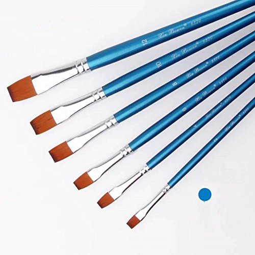 XinBoWen 6 Pieces Flat tip Nylon Hair Artist Detail Paint Brushes Set for Fine Detailing & Art Painting, Acrylic Watercolor Oil, Nail Art, Miniature Painting, Blue
