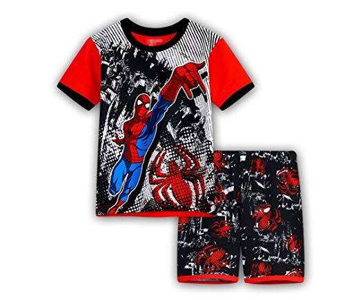 Little boy Summer Short Pajamas Kid Child Superhero Avenger Iron Man American Captain (Spiderman, 120CM-6T) ()