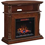 ClassicFlame 23DE1447-W502 Corinth Wall or Corner TV Stand for TVs up to 47, Burnished Walnut (Electric Fireplace Insert sold separately)