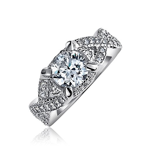 - 2CT Round Brilliant Solitaire Cut AAA CZ Engagement Ring Thin Criss Cross Twist Infinity Band 925 Sterling Silver