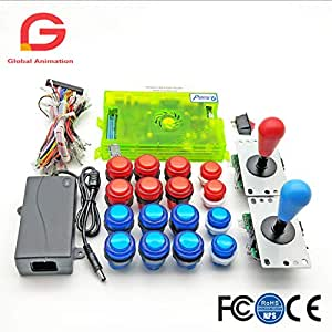 2 Player DIY Arcade Kit Pandora Box 6 1300 in 1 Game Board + 5Pin HAPP Style Joystick + 5V LED Push Button for Arcade Machine (Green and White)