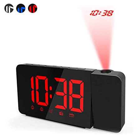 NANANA Despertador Digital Proyector, Radio LED Grande de FM ...