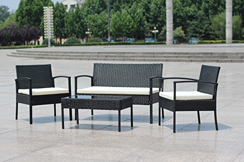 EBS My Furniture Garden Pool Rattan Wicker Patio Sofa Chair Table Set, Balcony Outdoor Set, 4 Piece - All-weather chair cushion covers repel water and moisture Quick and easy assembly using the included hardware, as tabletop made of tempered glass for added safety and spot clean only Chair measures 23 w x 23.5 d x 28-inches h, coffee table measures 29.5 w x15.5 d x 14.5-inches h, loveseat measures 41.5 w x 24 d x 28-inches h - patio-furniture, patio, conversation-sets - 51fhbRHfmML -