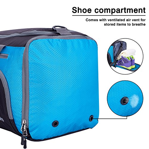 Venture Pal Packable Sports Gym Bag with Wet Pocket & Shoes Compartment Travel Duffel Bag for Men and Women-Blue