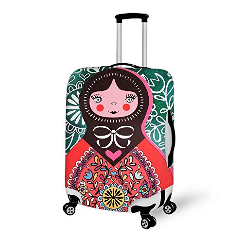 Zipper Luggage Suitcase Protector Fits 18-28 Inch Luggage, 3D Printed Russian Matryoshka Doll Waterproof Stretchy Travel Luggage Suitcase Cover Baggage Cover ()