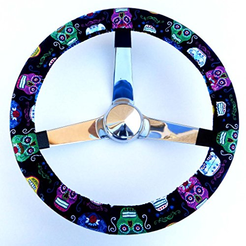 Mana Trading Handmade Steering Wheel Cover Fun Sugar Skulls
