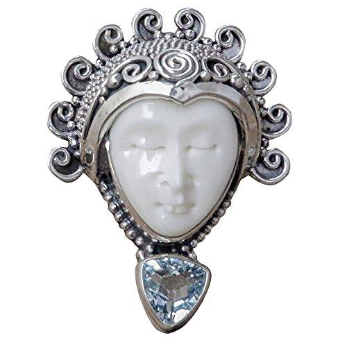 Bone Face Ring - NOVICA Blue Topaz .925 Sterling Silver Bone Cocktail Ring 'Saraswati Face in Blue'