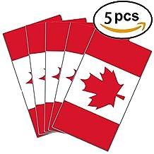 "Canada Flag Sticker 3"" X 5"" Flag Canada Maple Leaf Decal Great for Computer Car Window Bumper Decal Sticker (5-PACK)"